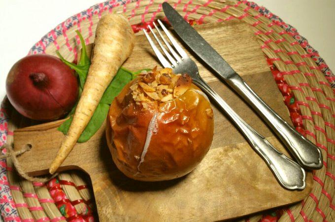 Bratapfel mit Walnüssen und Rosinen, glutenfrei und vegan