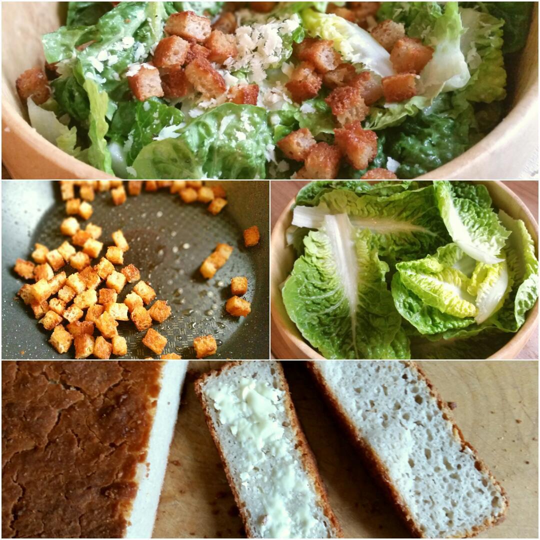Ceasar Salad glutenfrei, Romana Salat mit Parmesan und Croutons Collage