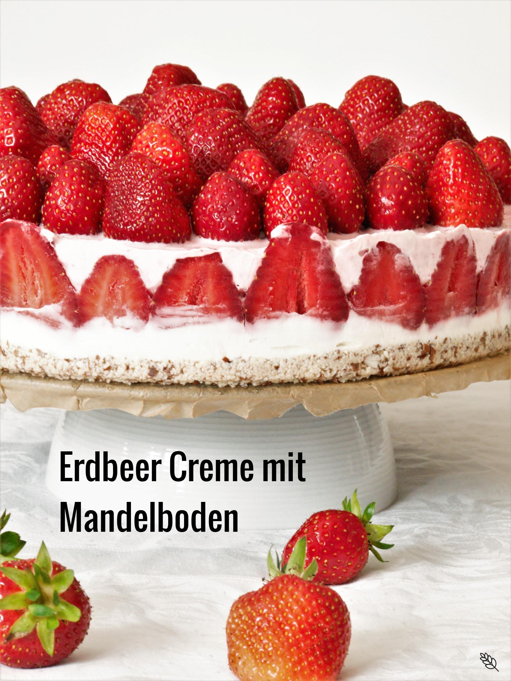 Erdbeer Creme mit Mandelboden oder Kuchen ohne backen2