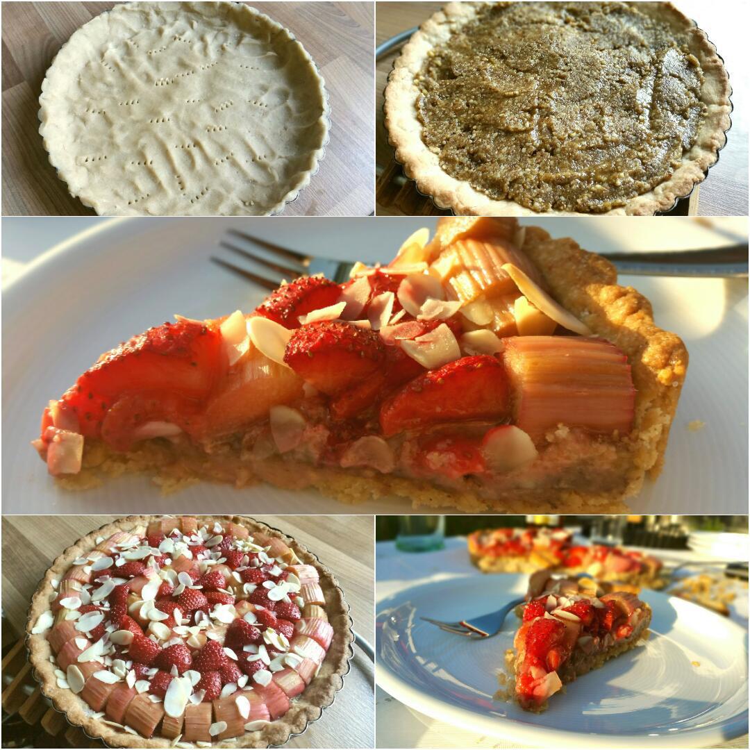 Erdbeer Rhabarber Tarte glutenfrei und vegan Collage