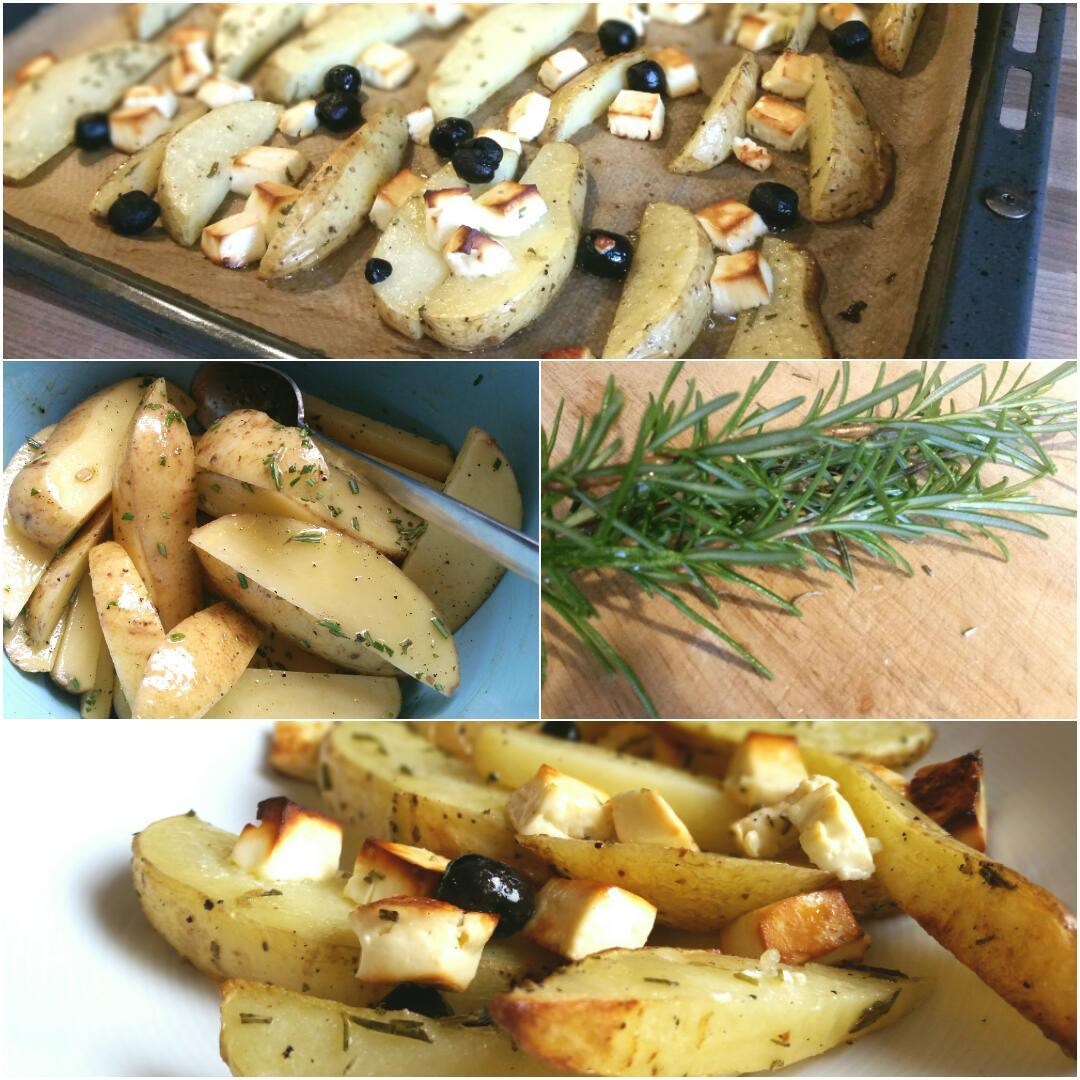 Gebackene Kartoffelecken mit Hirtenkäse und Oliven glutenfrei
