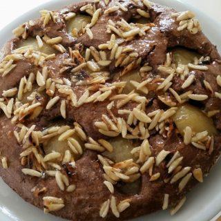 Schoko-Birnen-Kuchen glutenfrei mit Mandelstiften