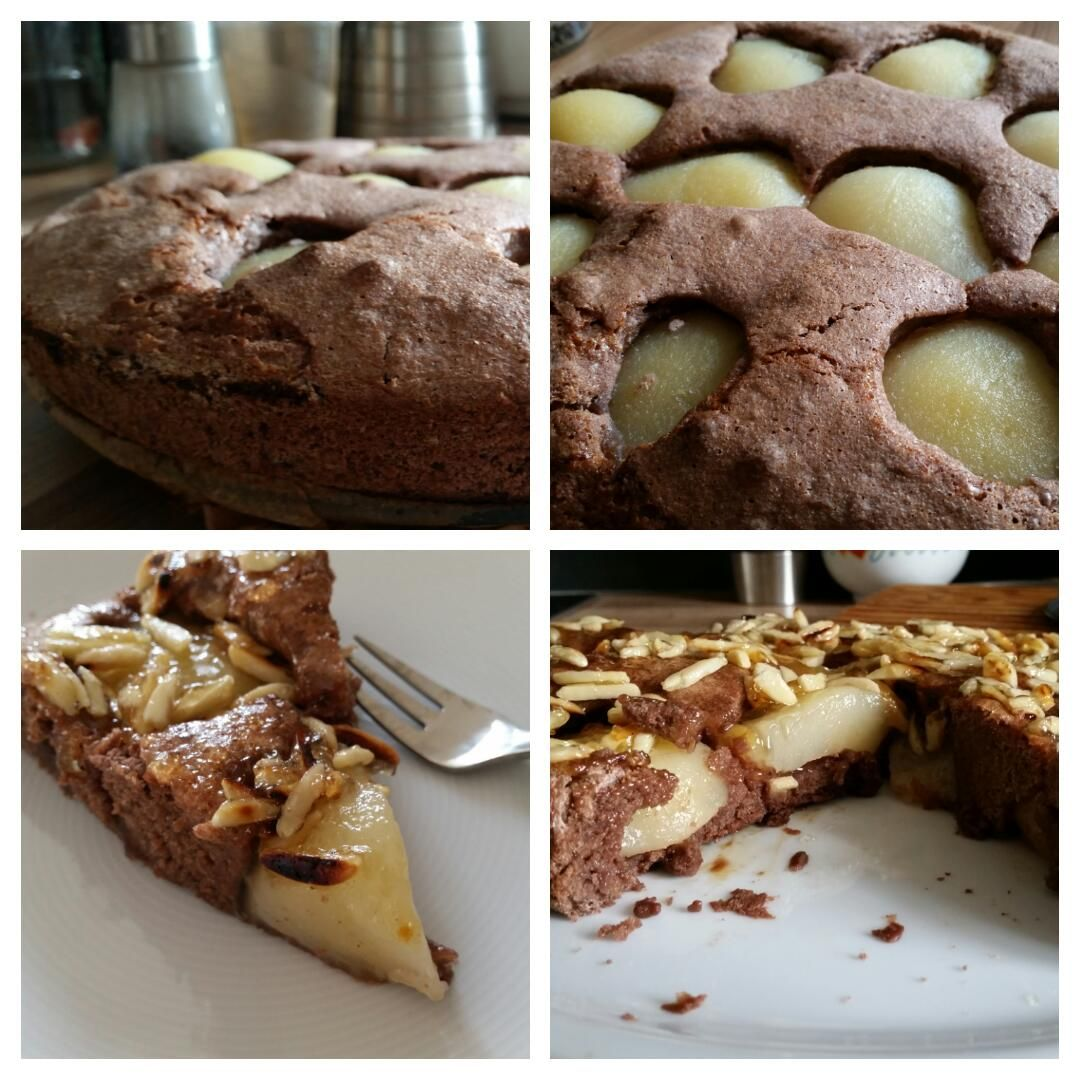 Glutenfreier Schoko-Birnen-Kuchen mit Mandelstiften Collage