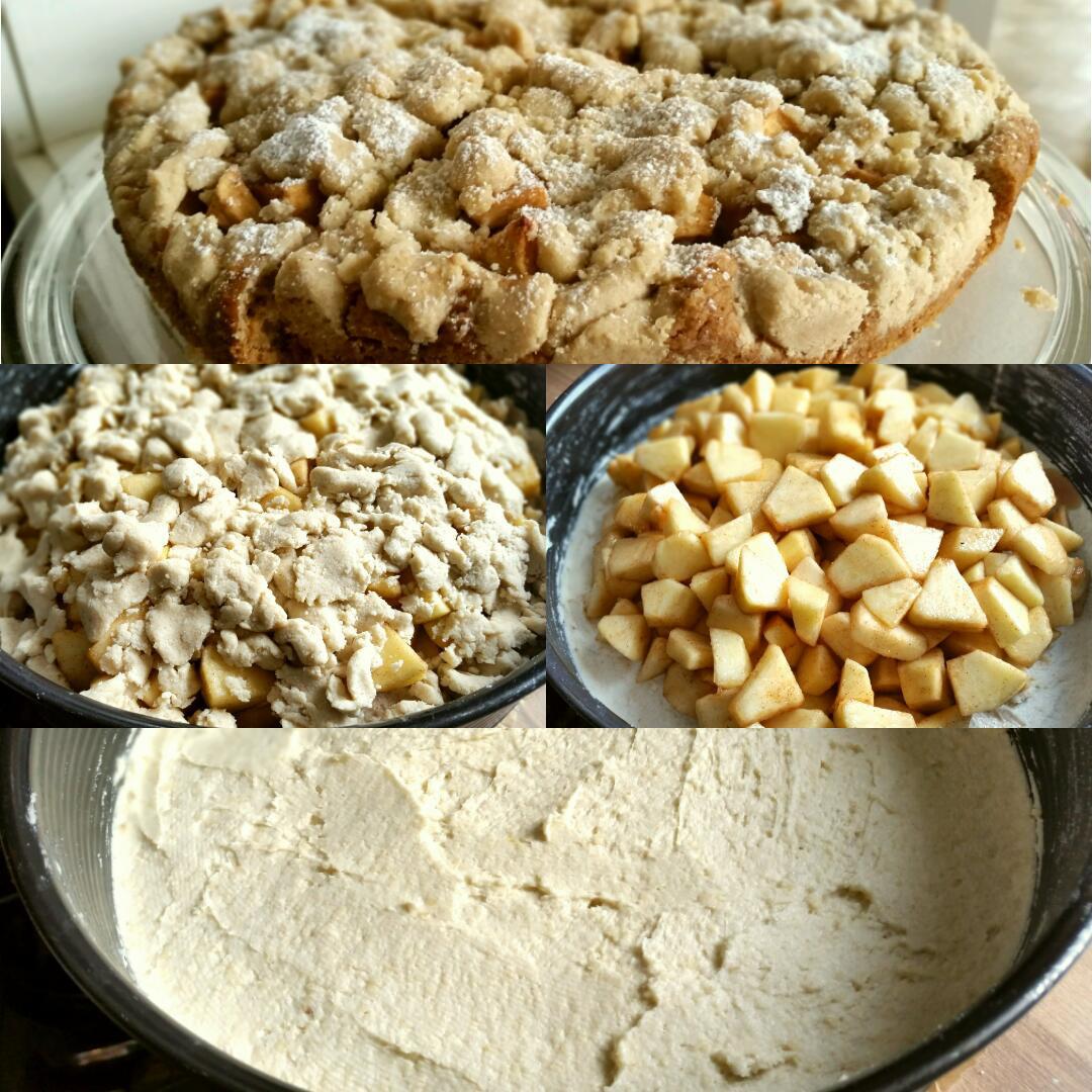Glutenfreier Streuselkuchen mit Äpfeln und Zimt, vegan Collage