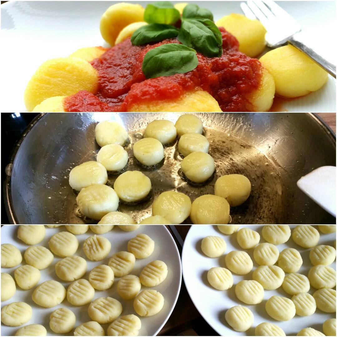 Gnocchi selber machen ohne Ei, mit Tomatensoße, glutenfrei und vegan Collage