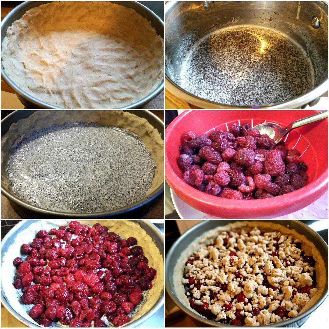 Himbeer Mohn Streuselkuchen glutenfrei und vegan Collage