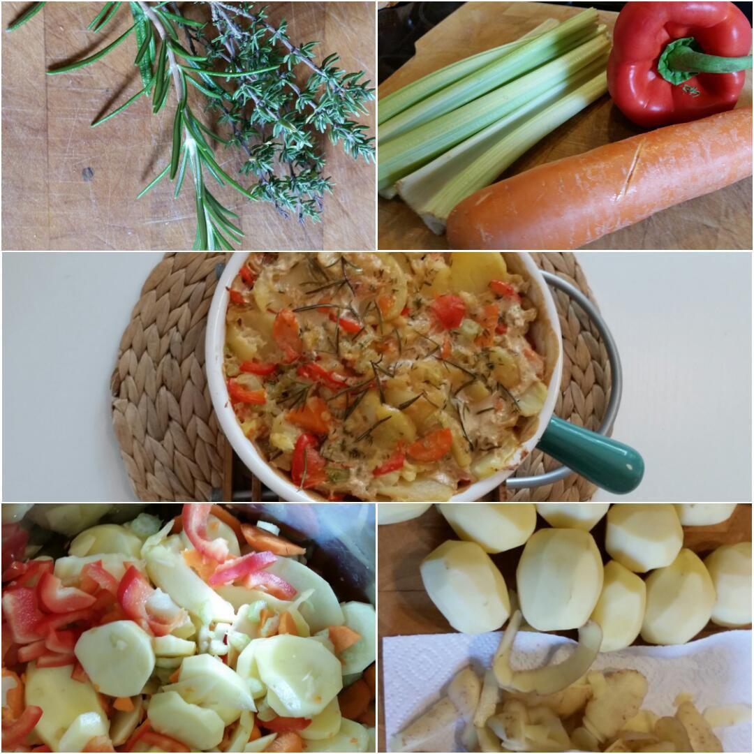 Kartoffel Gemüse Gratin Collage