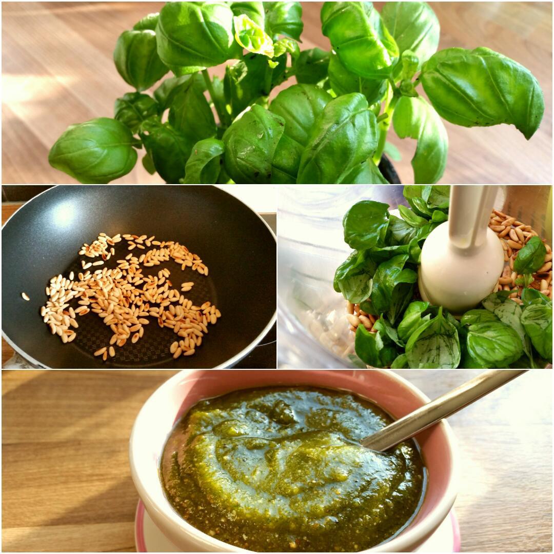 Pesto selber machen, glutenfrei, ohne Ei, ohne Knoblauch Collage