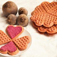Rote Bete Waffeln zum Valentinstag glutenfrei und vegan