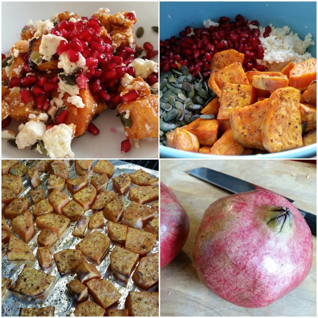 Salat-mit-Süßkartoffeln-und-Granatapfel-Collage