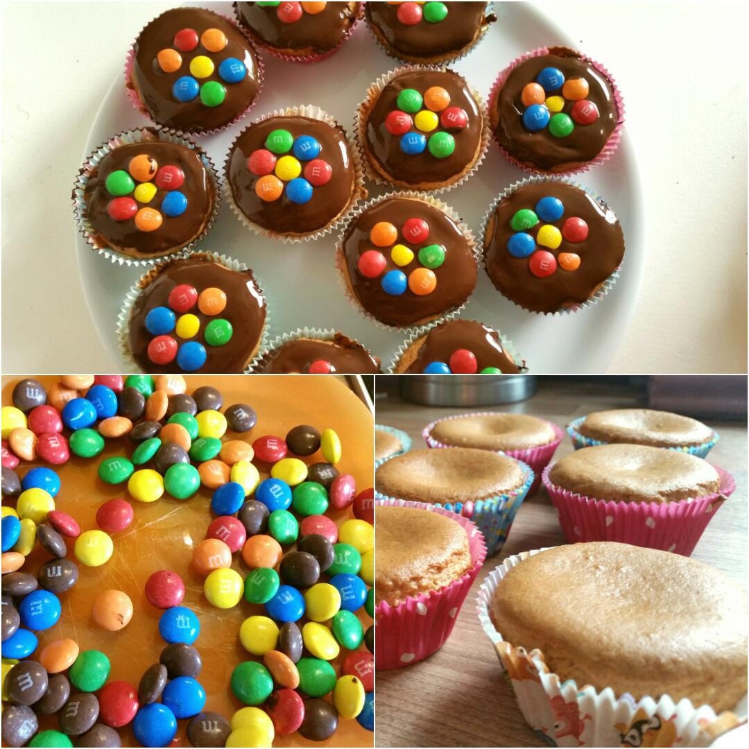 Vanille Muffins glutenfrei mit Schokolinsen Collage