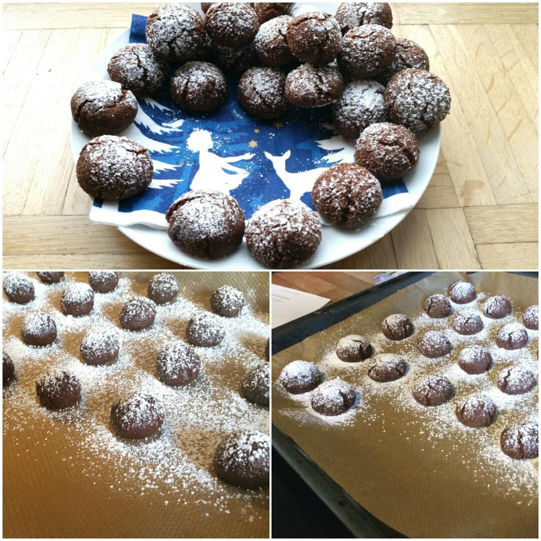 Weiche Schokoladen Amarettini ohne Alkohol, glutenfrei, vegan, Collage